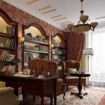 Книжные полки в нишах в стене