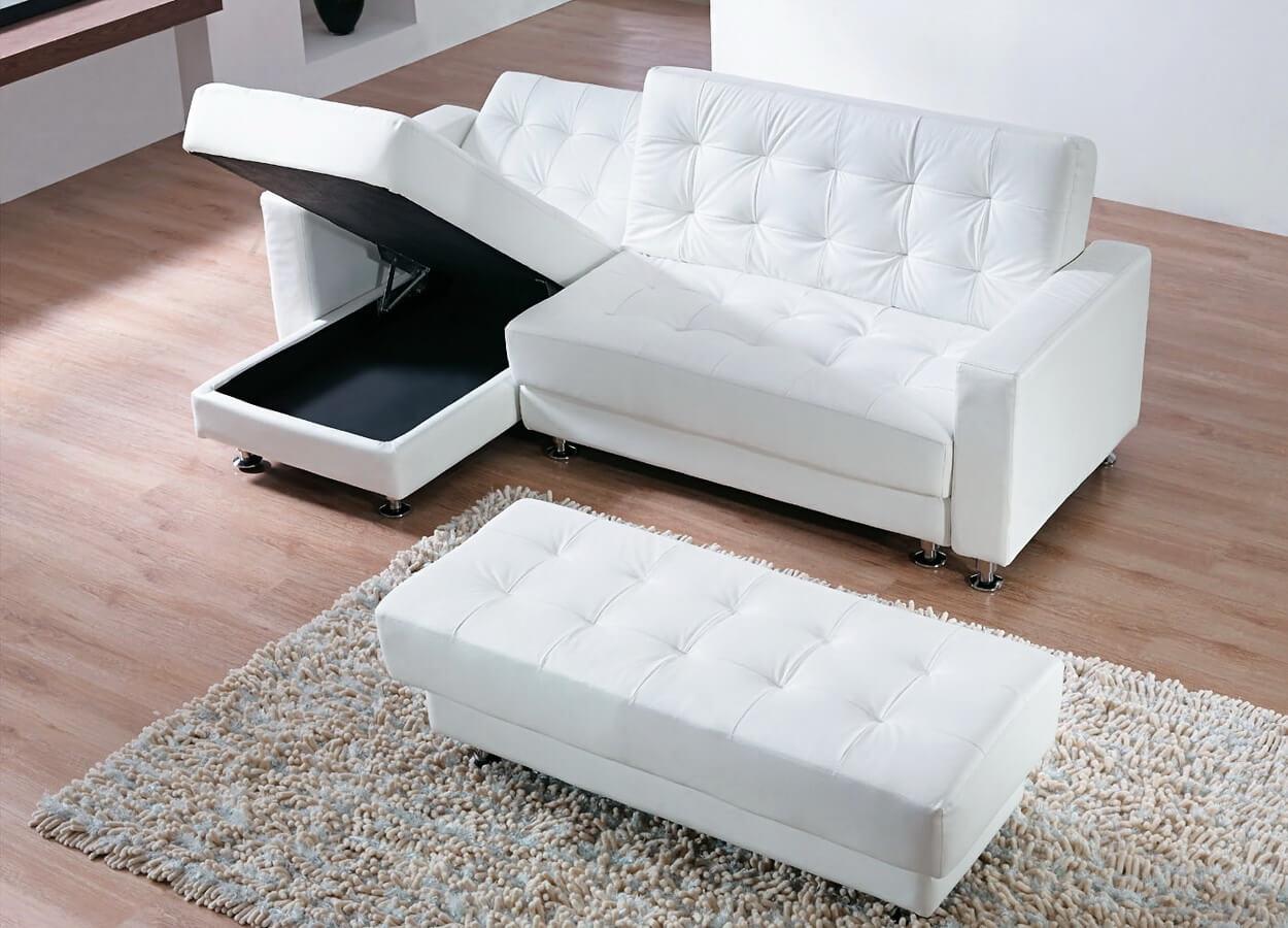 Белый диван и кушетка