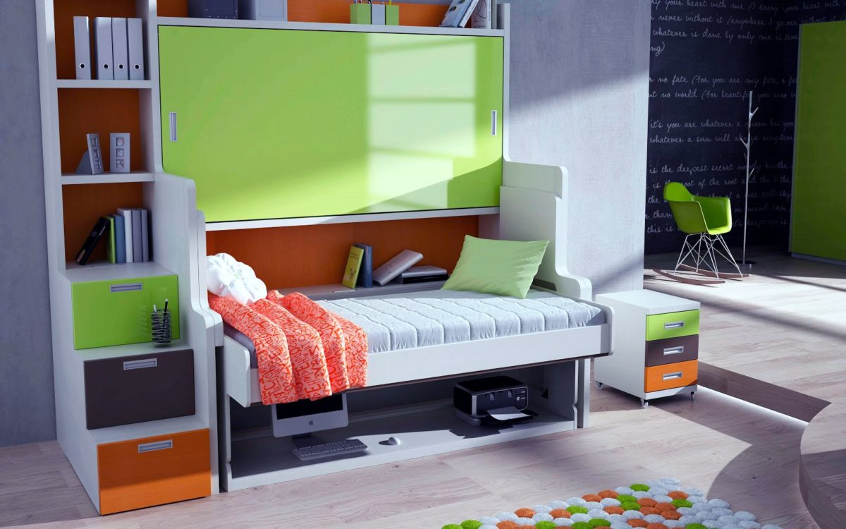 Светло-зеленая глянцевая мебель в комнате для подростка
