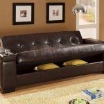 Коричневый кожаный диван-трансформер
