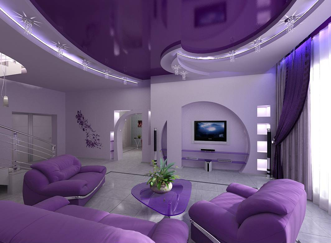Фиолетовый дизайн квартиры