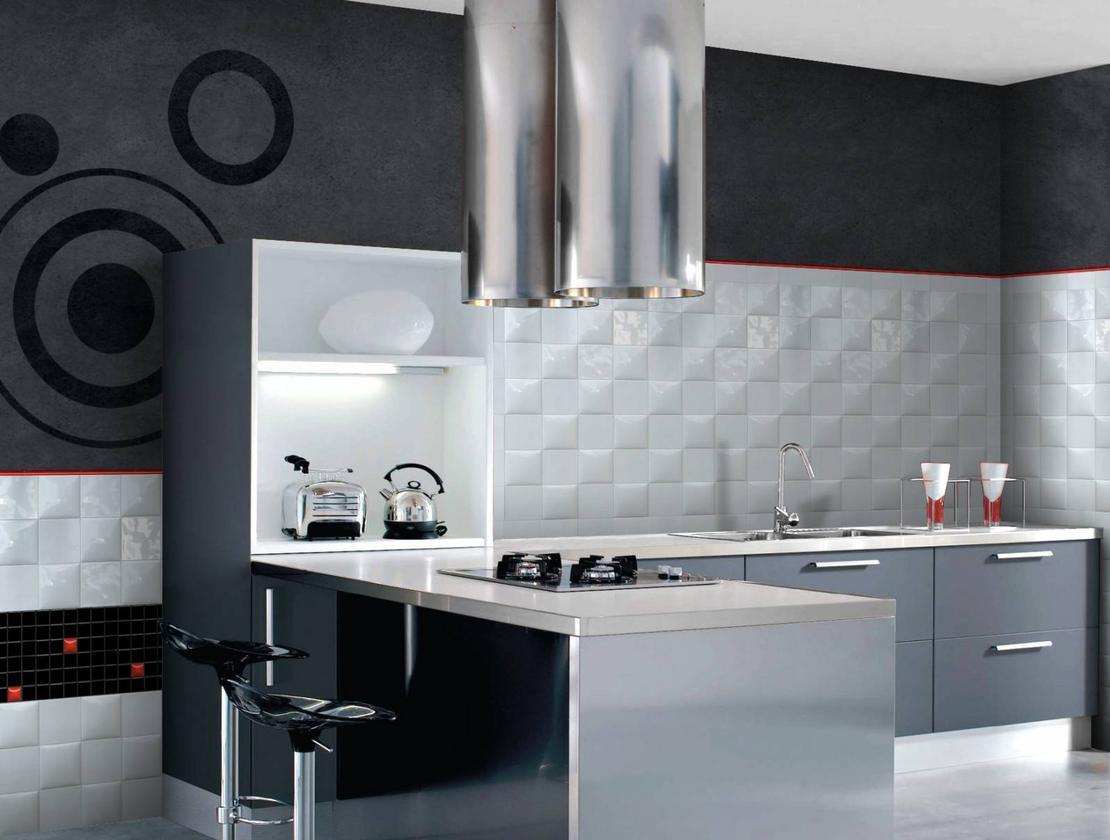 Белый фартук на кухне в стиле модерн
