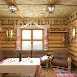 Мебель из бревен в интерьере