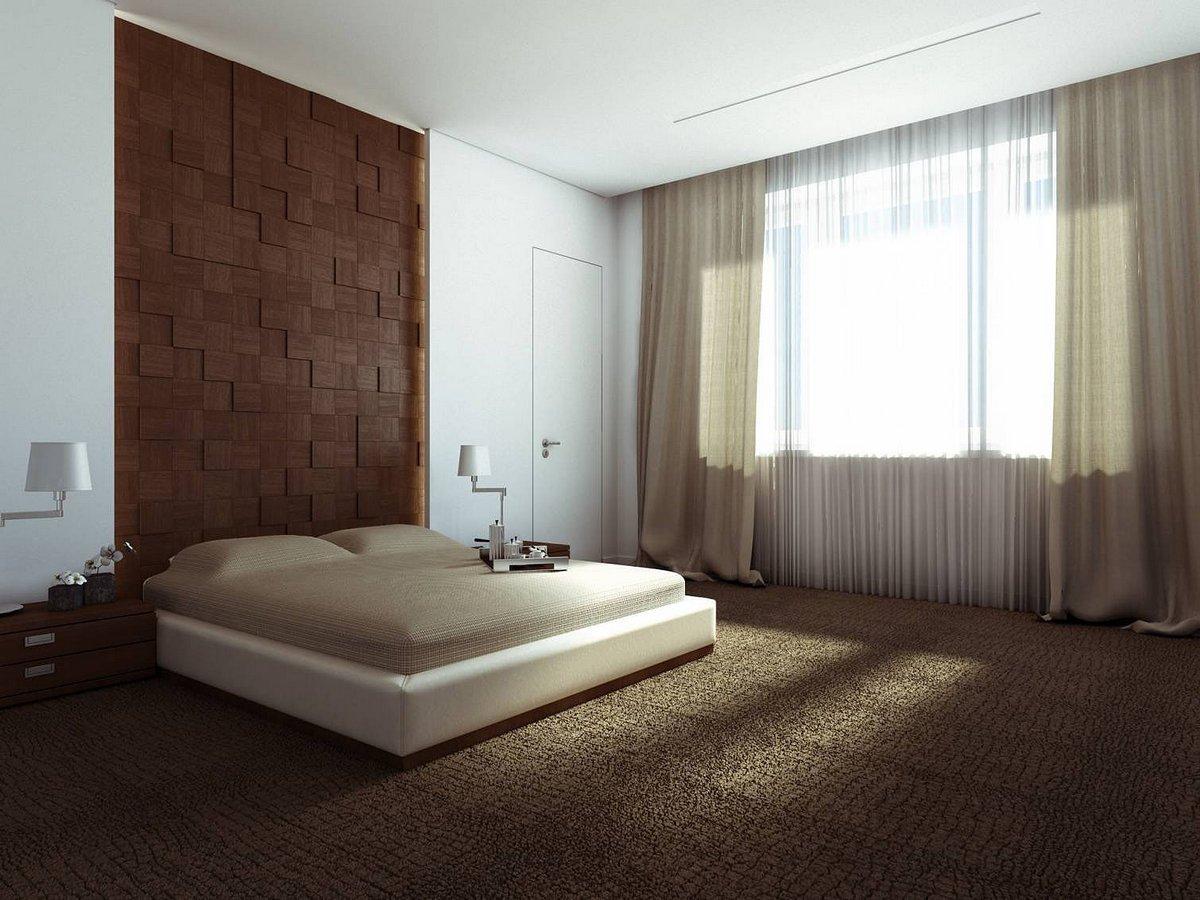 Бежевый и коричневый в дизайне спальни