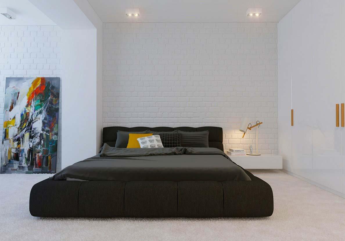 Черная постель в белой спальне