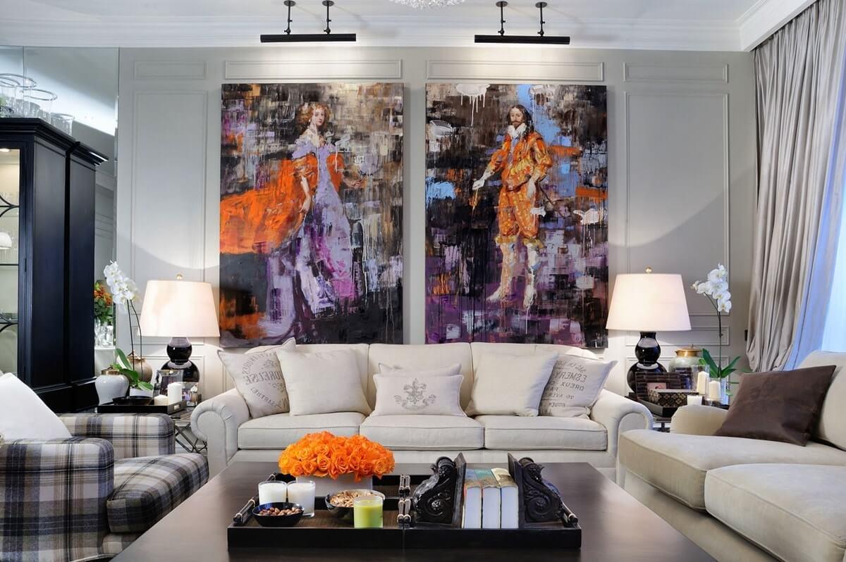 Размещение картин на стене в интерьере