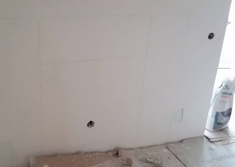 Чертеж камина на стене