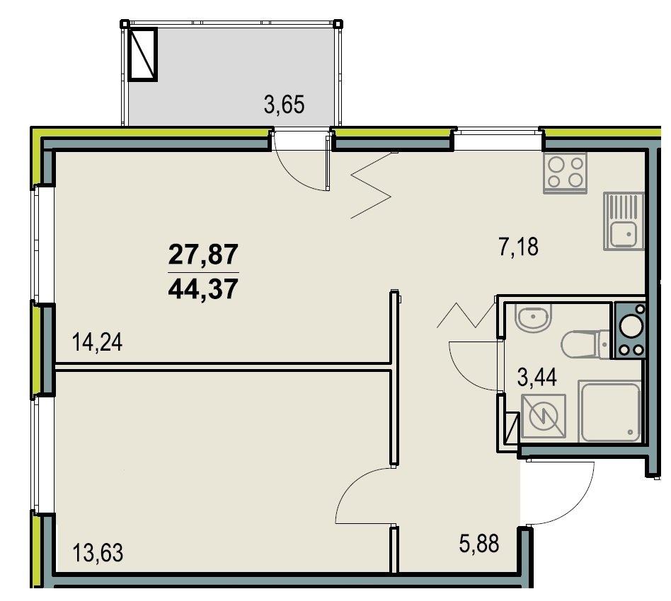 Планировка двухкомнатной квартиры 44 кв м