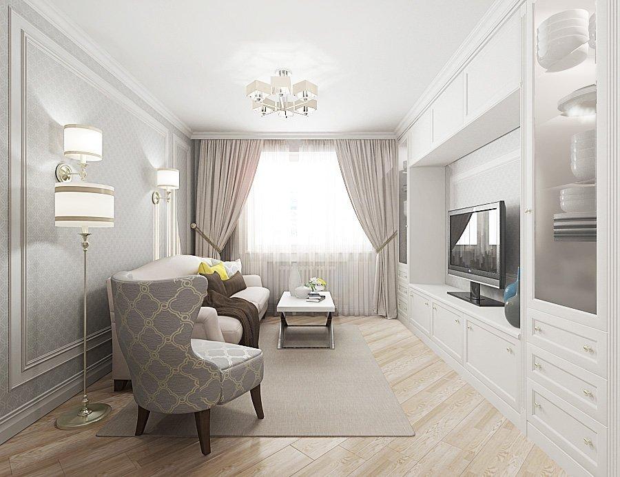 Гостиная в двухкомнатной квартире 44 кв м