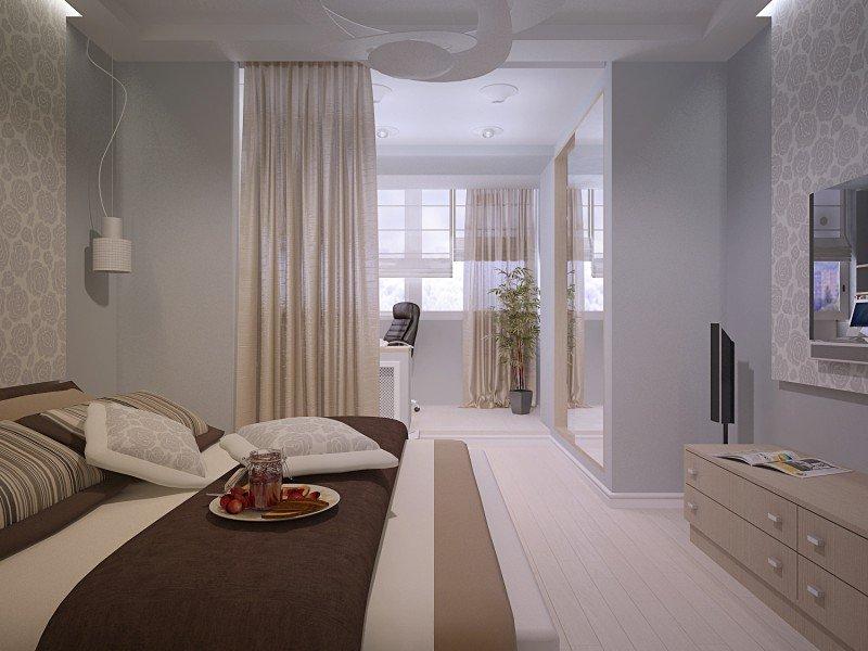 Спальня в двухкомнатной квартире 44 кв м