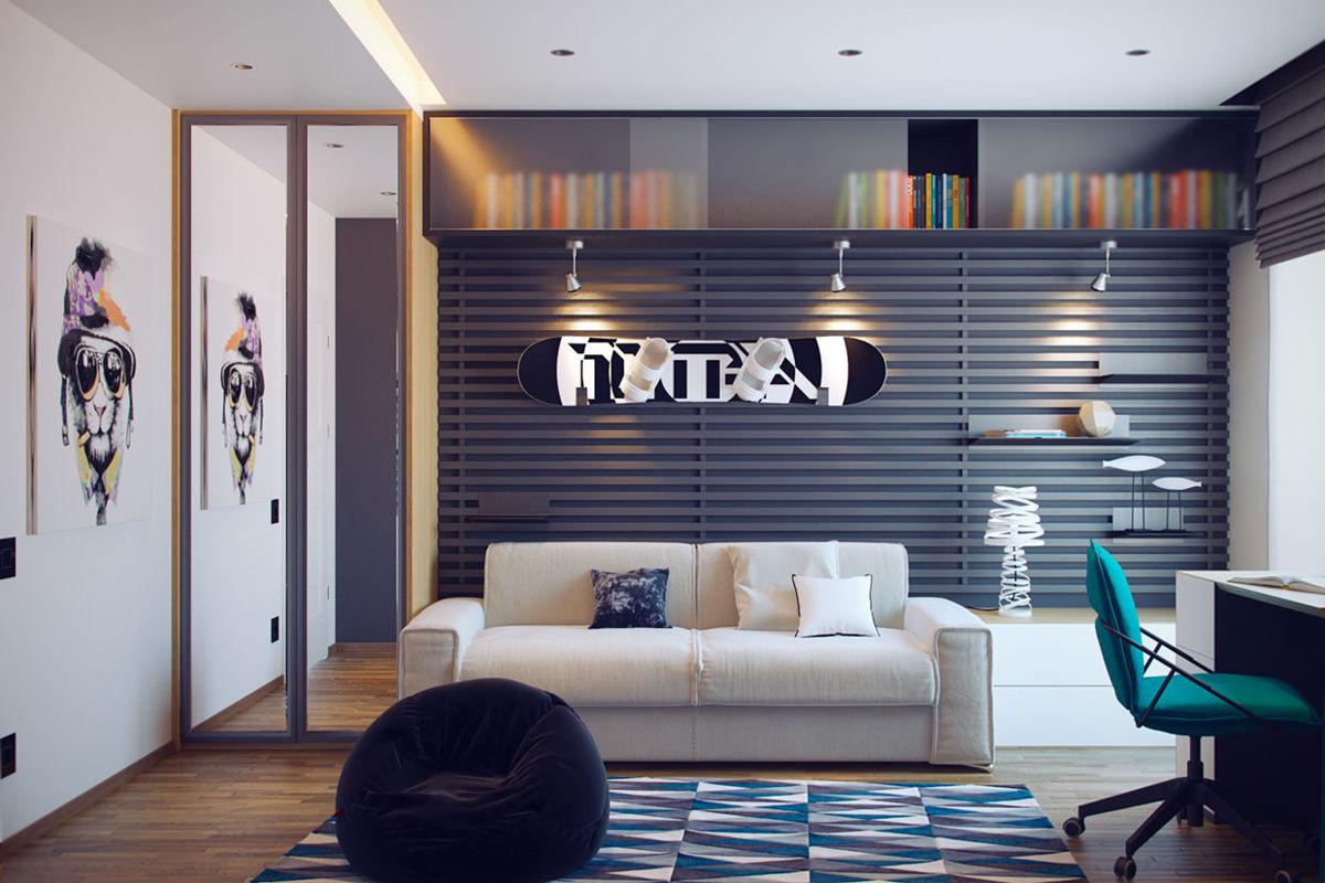 Комната с белым диваном