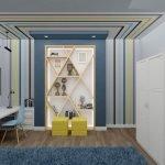 Серо-синий дизайн комнаты