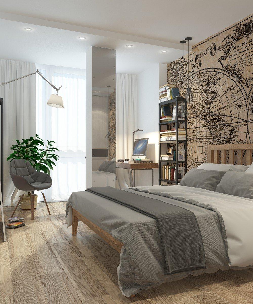Спальня в серо-бежевых тонах