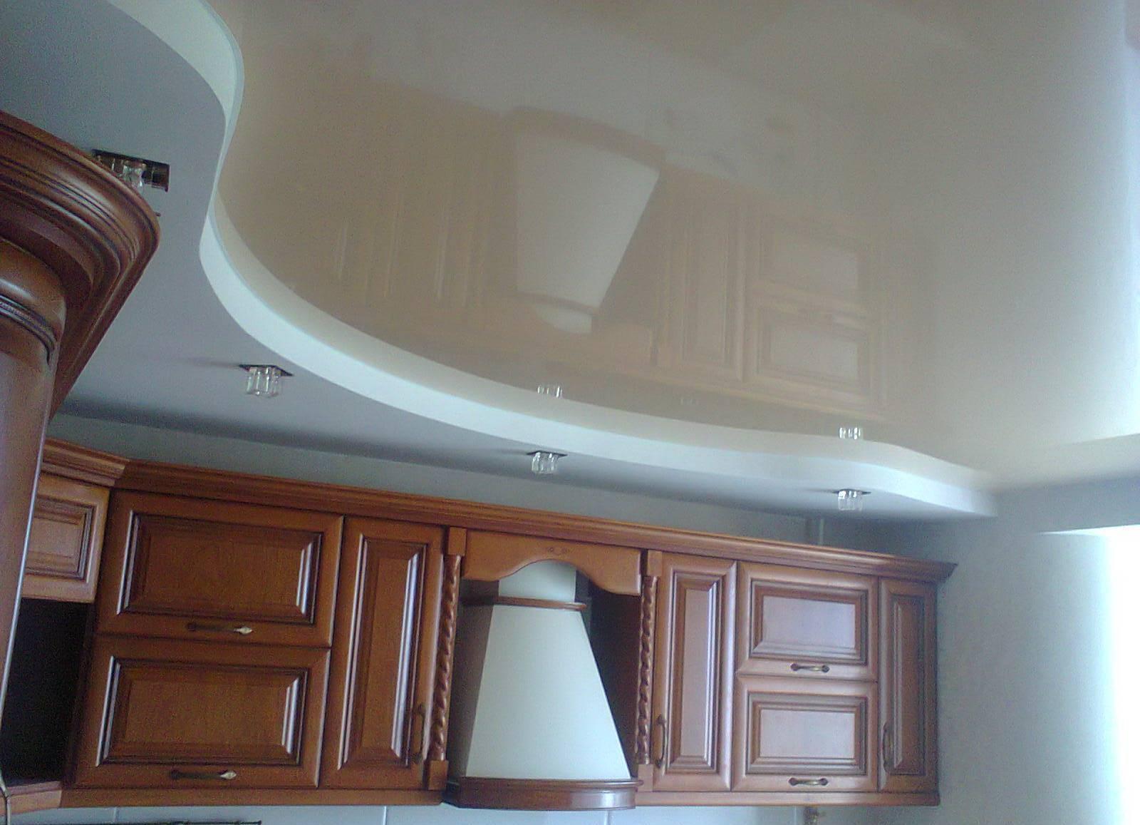 потолок на кухне гипсокартон и натяжной фото здесь