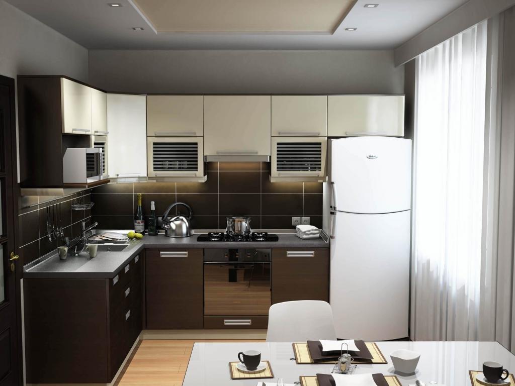 Потолок из гипсокартона на маленькой кухне