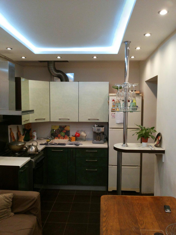 потолок на кухне гипсокартон и натяжной фото