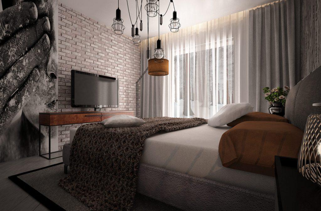 Стена под кирпич в спальне в стиле лофт