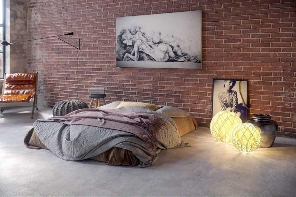 Кирпичные стены в спальне в стиле лофт