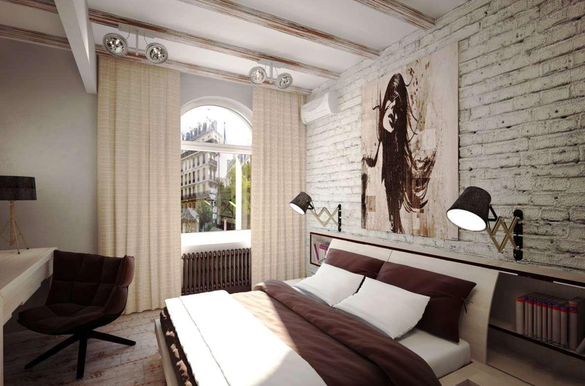 Спальня в стиле лофт для девушки