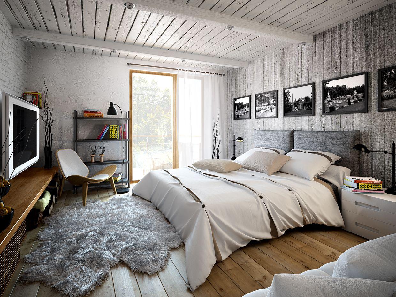 Светлые тона в спальне в стиле лофт