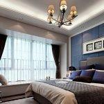 Спальня разбавленная глубоким синим