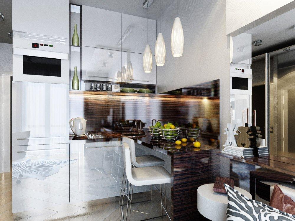 Небольшая кухня за раздвижной дверью