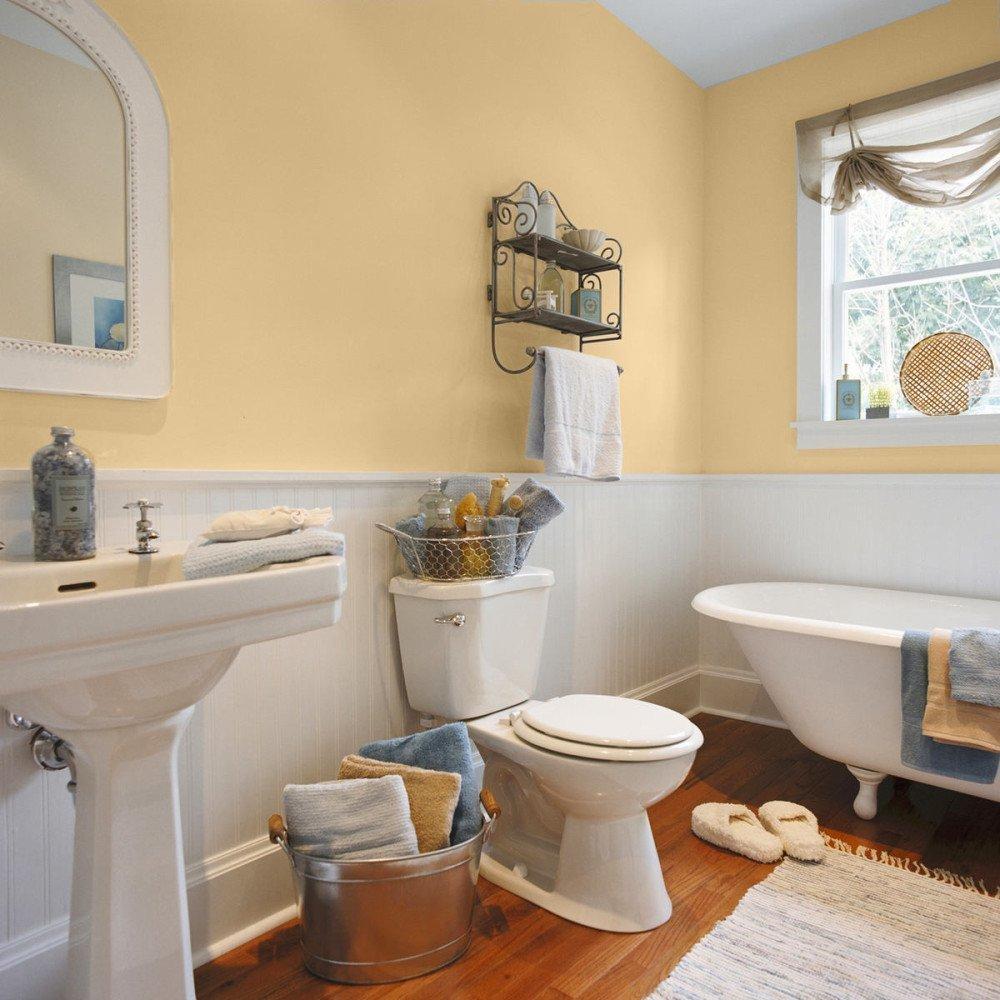 Стены в ванной персикового цвета