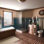 Коричневая ванная комната с окном