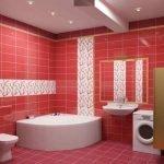 Бело-красная ванная комната