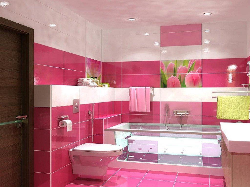 Розово-белая ванная комната