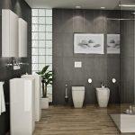 Белая сантехника в серой ванной комнате