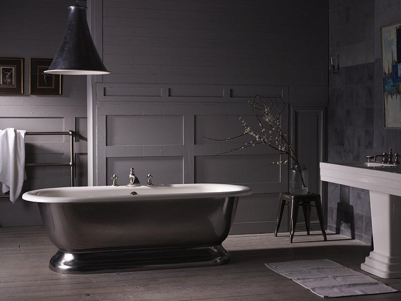 Серая ванная в стиле лофт