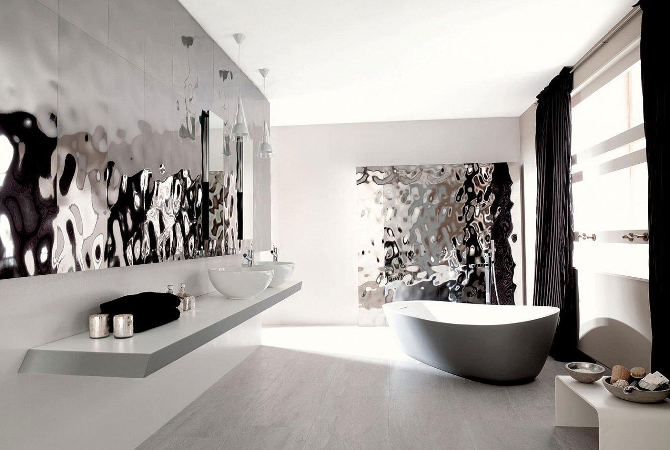 Отделка ванной под серебро