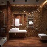 Коричневая плитка на полу в ванной