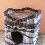 Двухуровневый плетеный домик для кошки