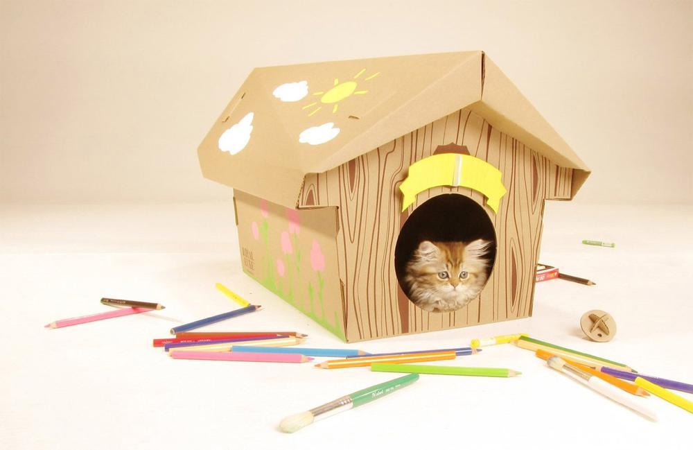 Как сделать домик для кошки из коробки