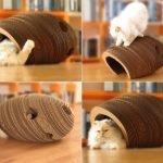 Домик из гофробумаги для кота