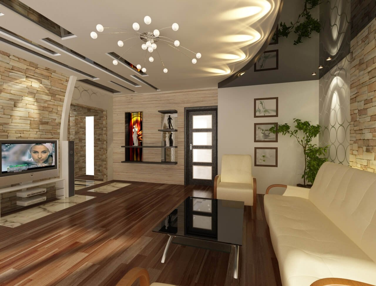 Вариант оформления потолка в гостиной