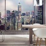 Городские фотообои в интерьере комнаты без окон