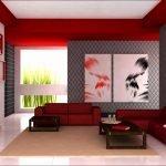 Диван в серо-красной гостиной