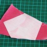 Пришиваем пятиугольник к лоскуту ткани