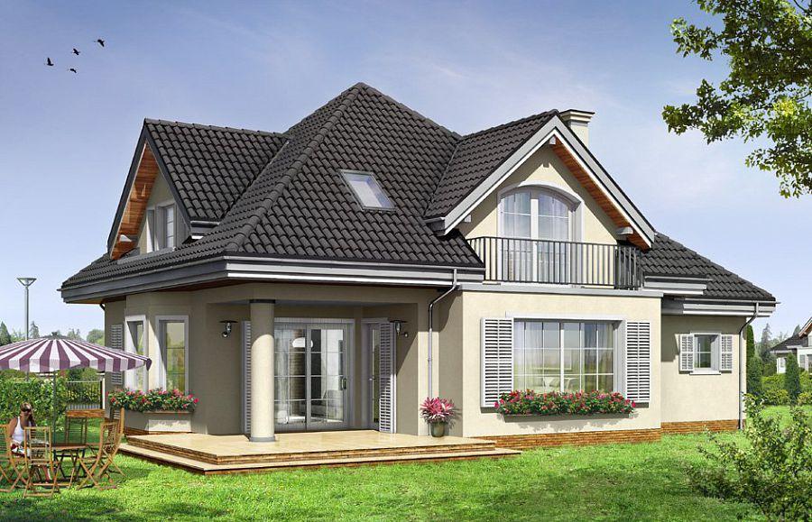 Балкон в доме с четырехскатной крышей
