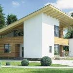 Духэтажный дом с односкатной крышей
