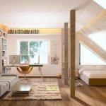 Спальня под ломаной крышей