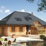 Четырехскатная крыша с зимним садом