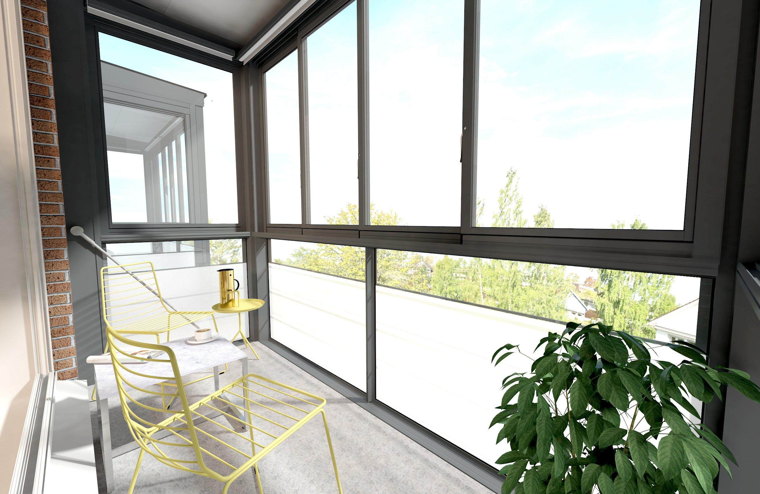 Балкон полностью застеклен