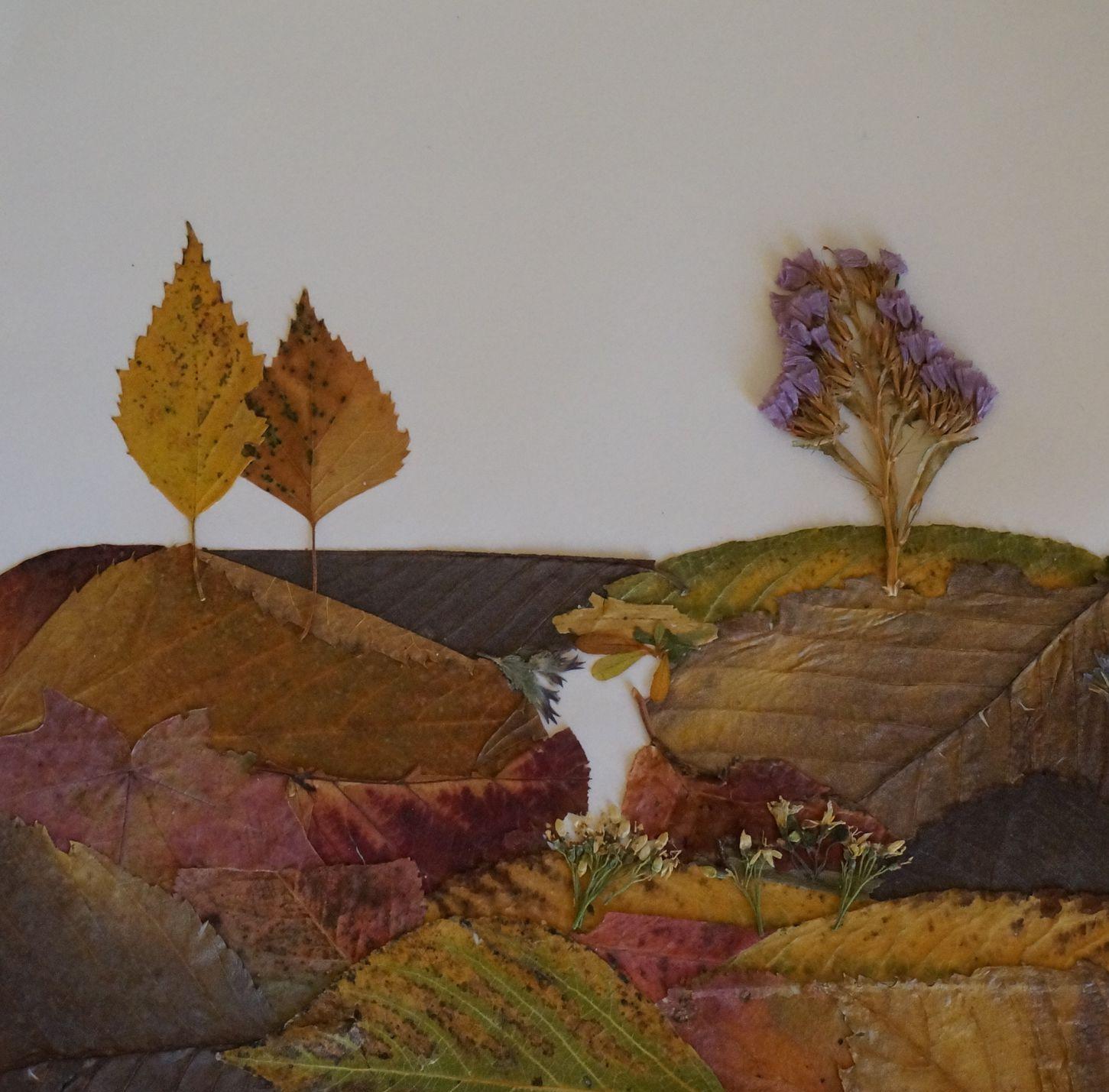 Для, картинки из сухих листьев своими руками