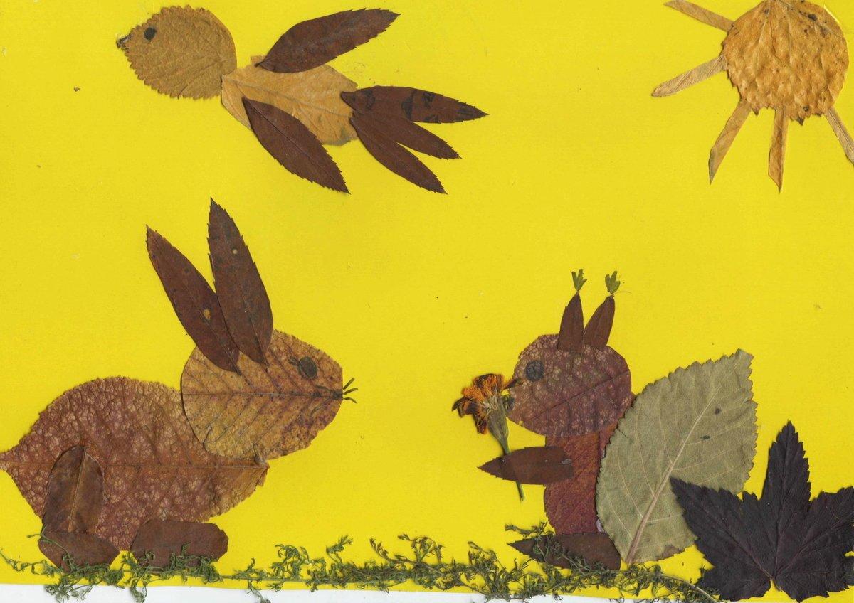 Животные из листьев на бумаге картинки