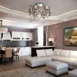 Белый диван в гостиной