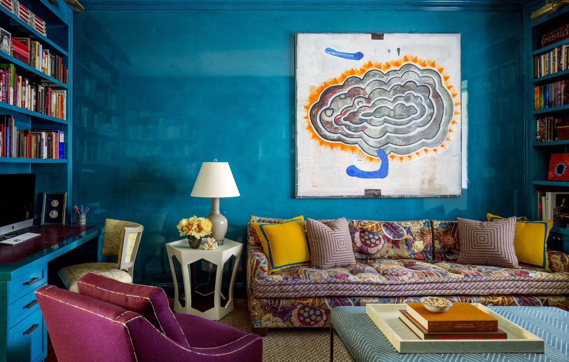 Синий цвет в оформлении стен